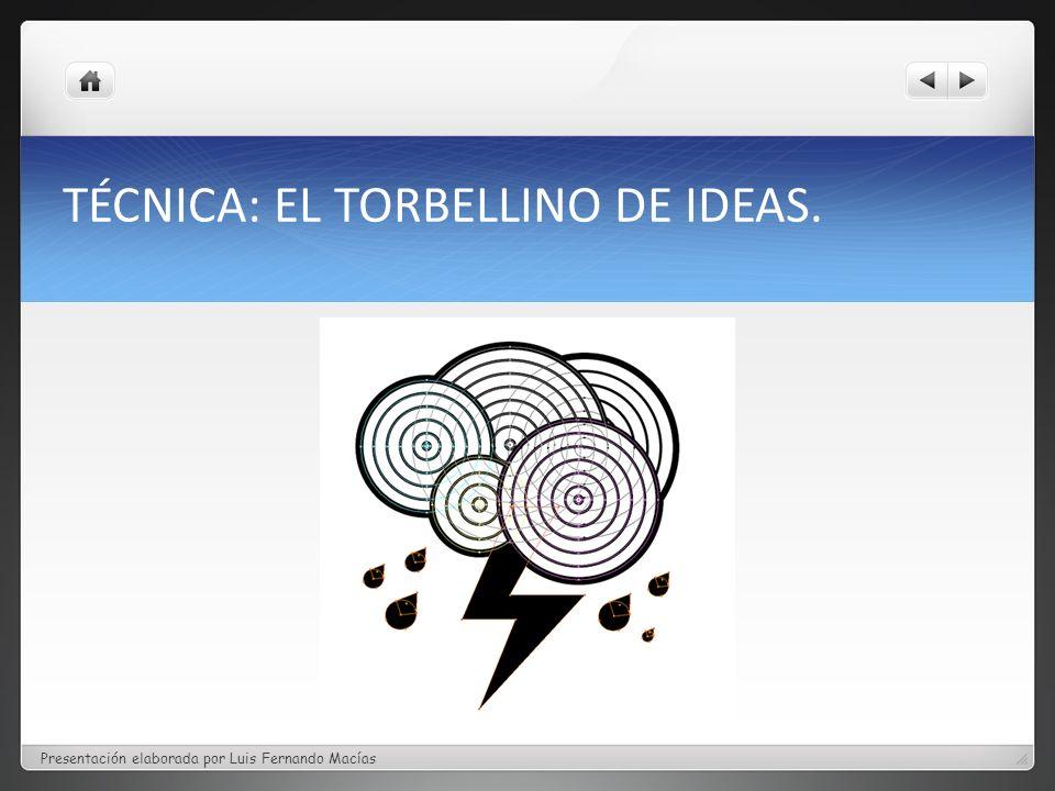 TÉCNICA: EL TORBELLINO DE IDEAS.