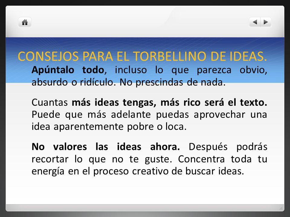 CONSEJOS PARA EL TORBELLINO DE IDEAS.