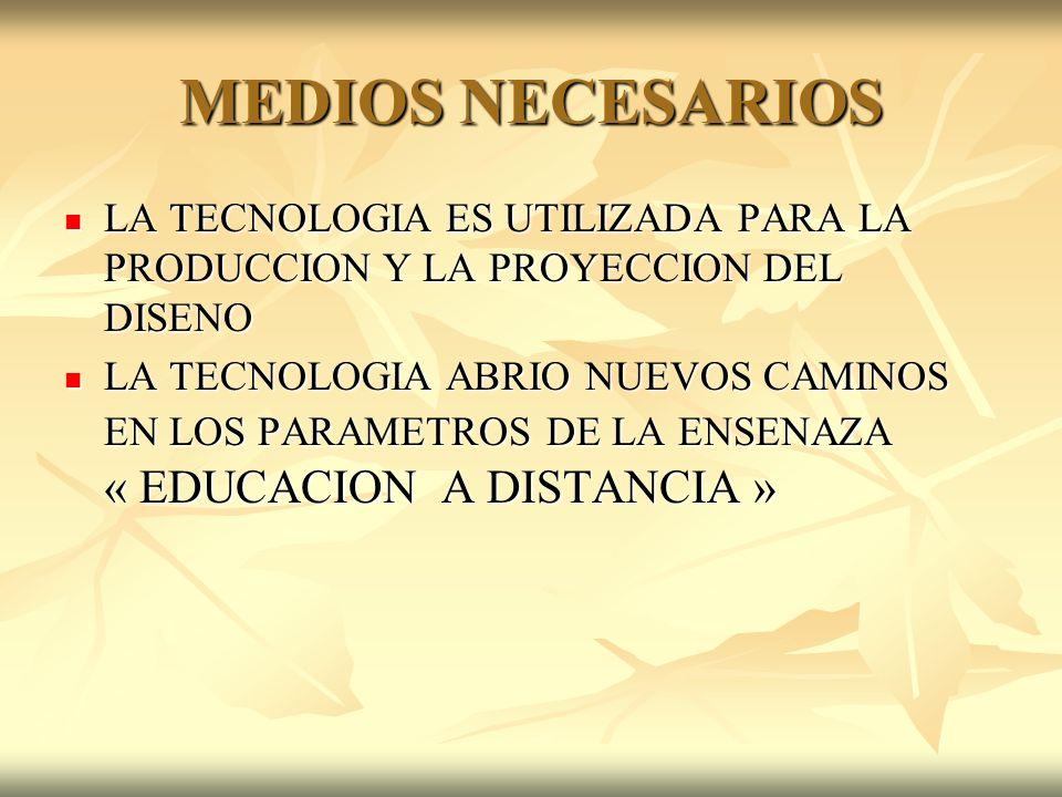 MEDIOS NECESARIOSLA TECNOLOGIA ES UTILIZADA PARA LA PRODUCCION Y LA PROYECCION DEL DISENO.