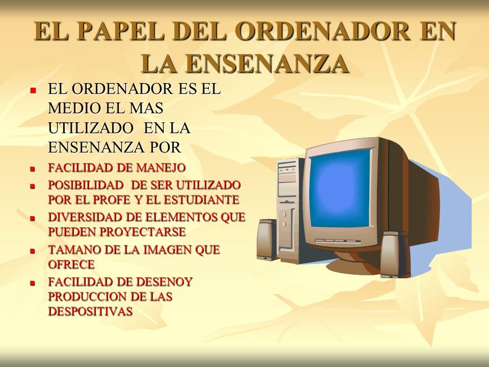 EL PAPEL DEL ORDENADOR EN LA ENSENANZA