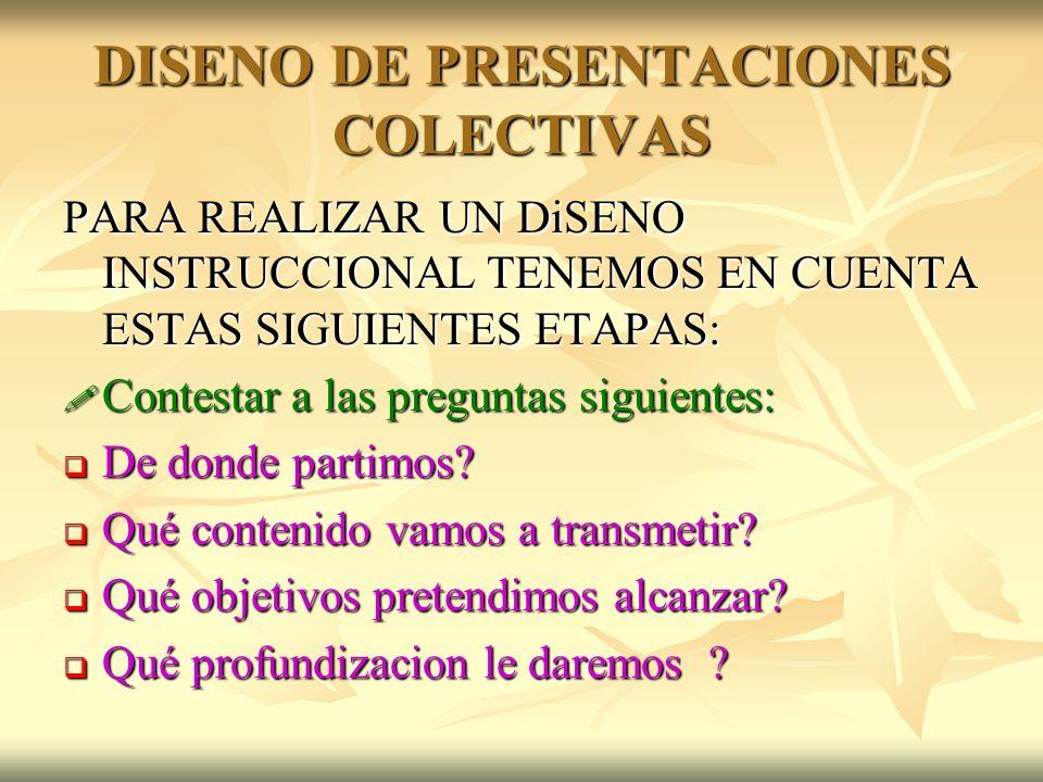 DISENO DE PRESENTACIONES COLECTIVAS