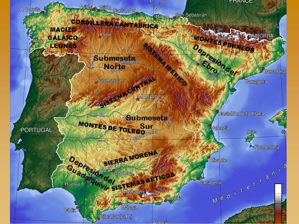 CORDILLERA CANTÁBRICA MACIZO GALAICO-LEONÉS Depresión del Guadalquivir
