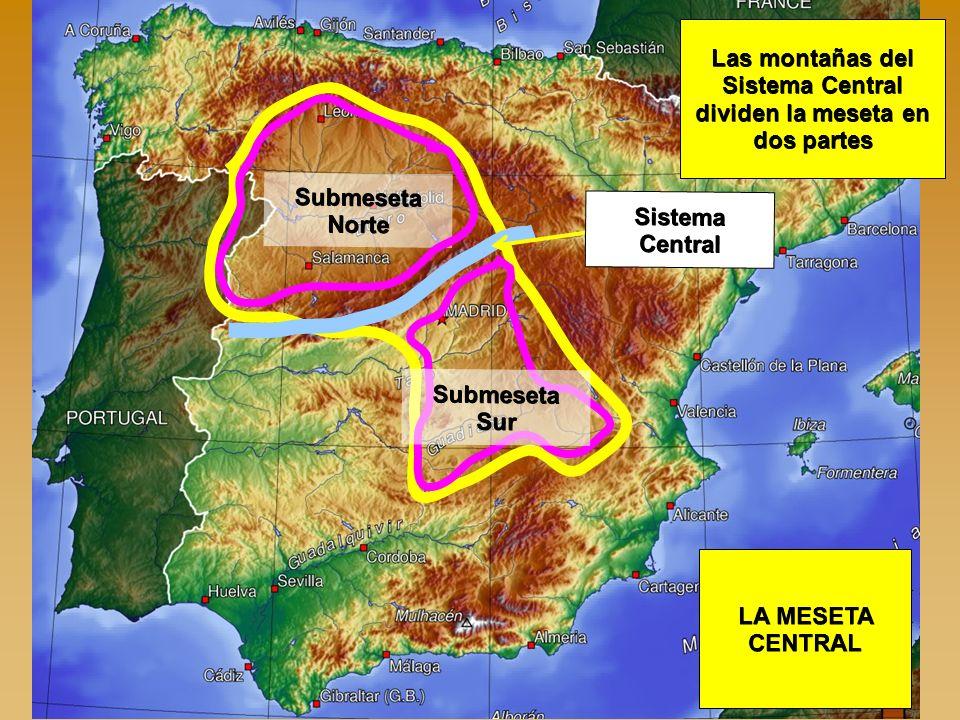Las montañas del Sistema Central dividen la meseta en dos partes