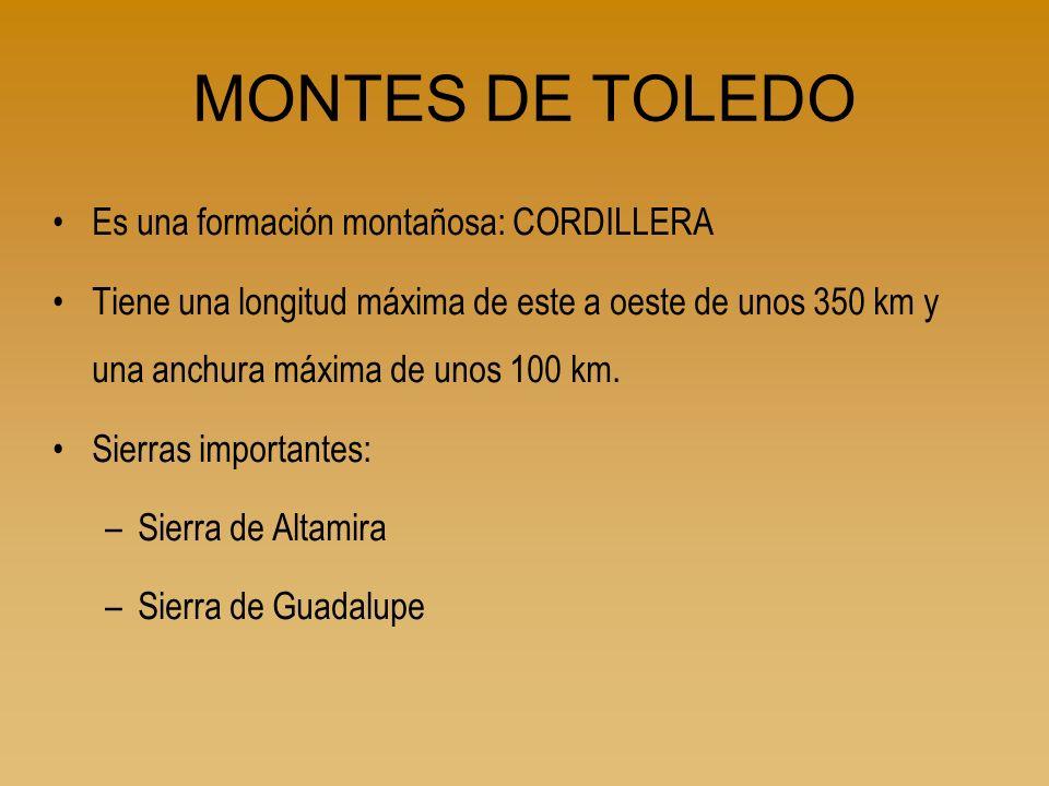 MONTES DE TOLEDO Es una formación montañosa: CORDILLERA