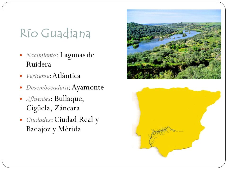 Río Guadiana Nacimiento: Lagunas de Ruidera Vertiente: Atlántica