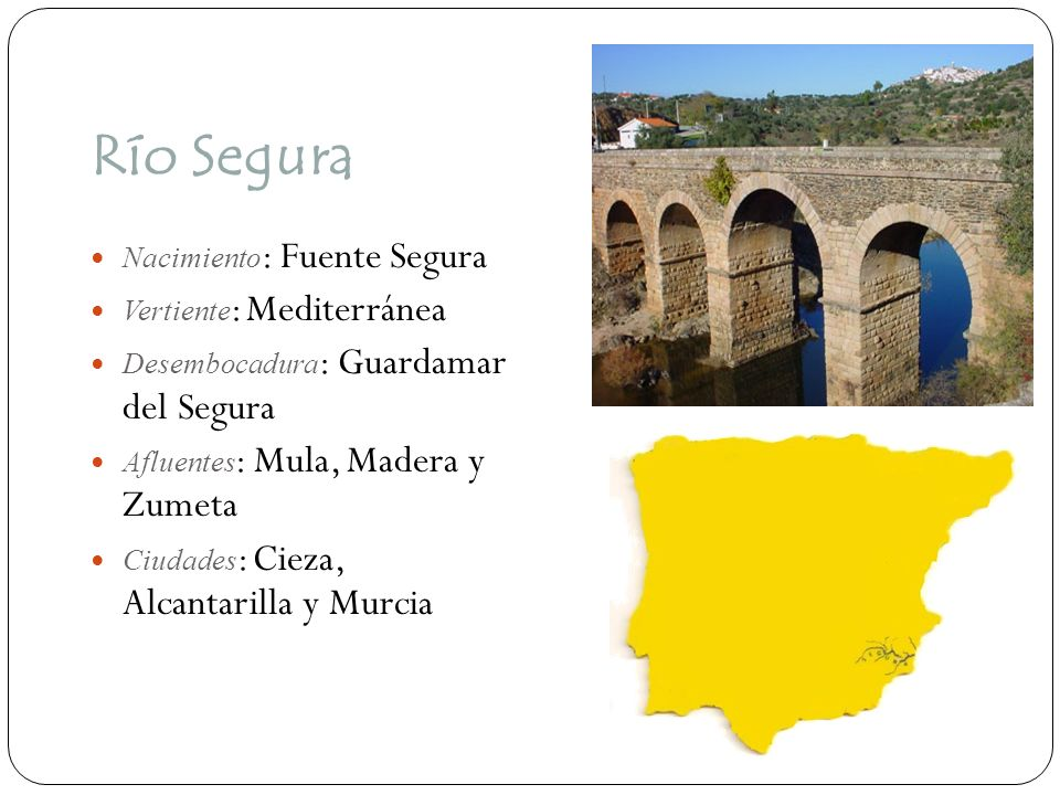 Río Segura Nacimiento: Fuente Segura Vertiente: Mediterránea