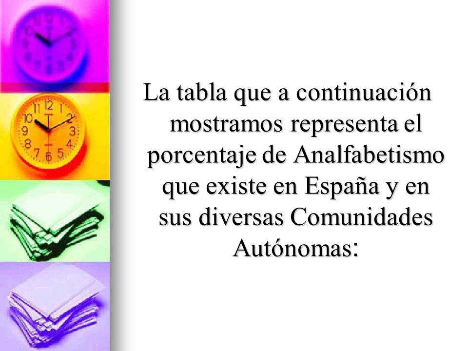 La tabla que a continuación mostramos representa el porcentaje de Analfabetismo que existe en España y en sus diversas Comunidades Autónomas: