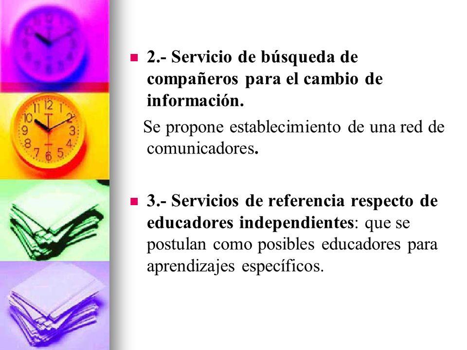 2.- Servicio de búsqueda de compañeros para el cambio de información.