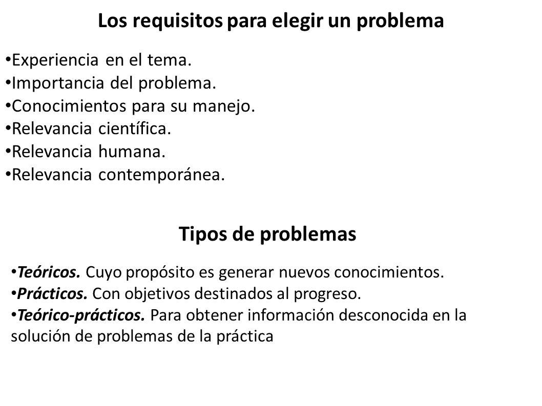 Los requisitos para elegir un problema
