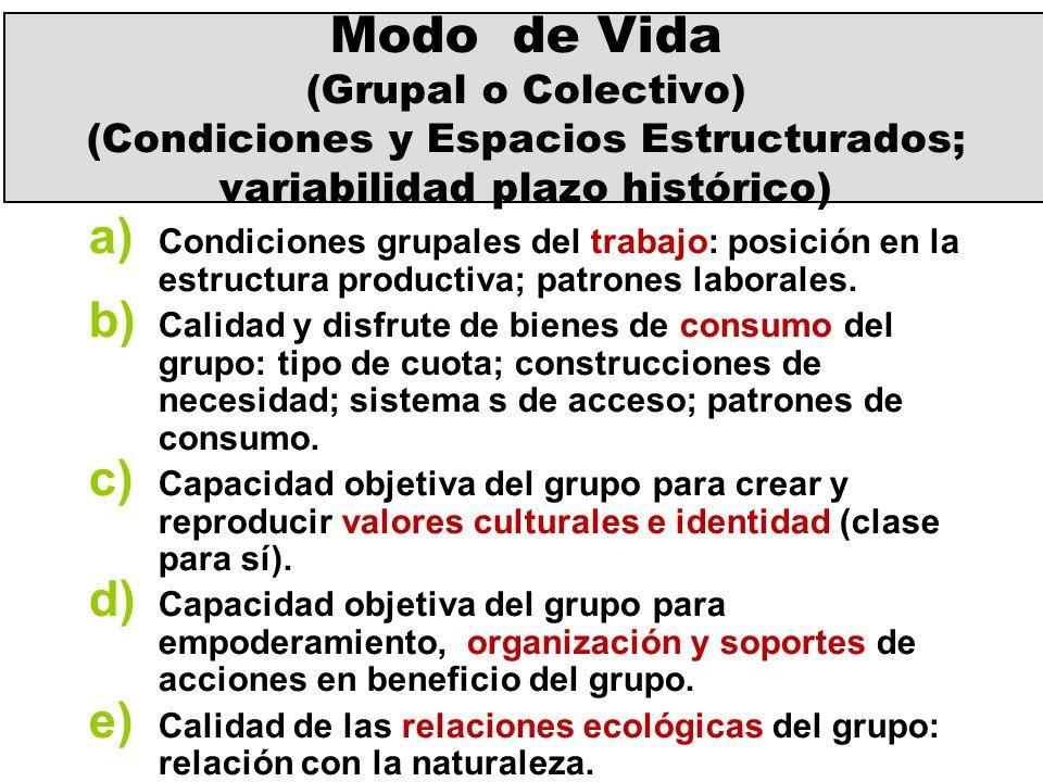 Modo de Vida (Grupal o Colectivo) (Condiciones y Espacios Estructurados; variabilidad plazo histórico)