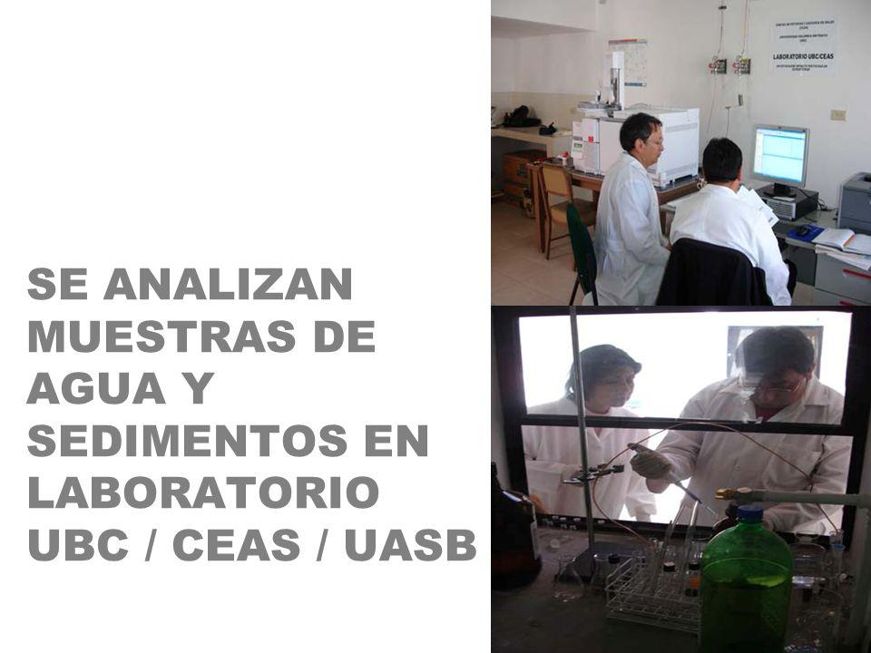 SE ANALIZAN MUESTRAS DE AGUA Y SEDIMENTOS EN LABORATORIO UBC / CEAS / UASB