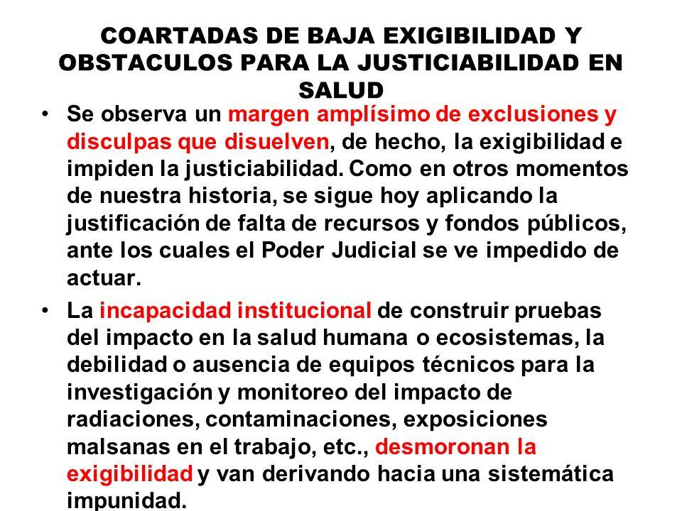 COARTADAS DE BAJA EXIGIBILIDAD Y OBSTACULOS PARA LA JUSTICIABILIDAD EN SALUD