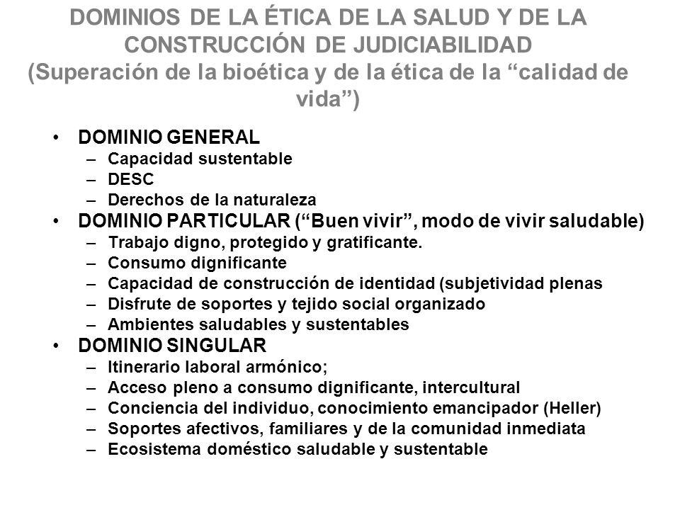 DOMINIOS DE LA ÉTICA DE LA SALUD Y DE LA CONSTRUCCIÓN DE JUDICIABILIDAD (Superación de la bioética y de la ética de la calidad de vida )