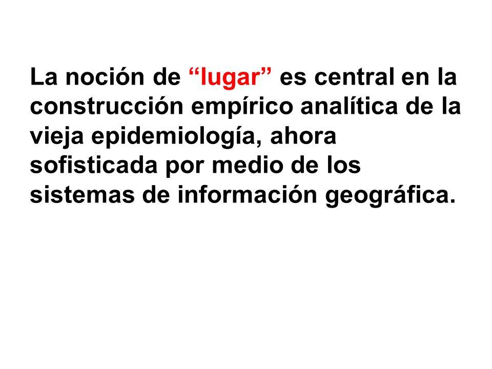 La noción de lugar es central en la construcción empírico analítica de la vieja epidemiología, ahora sofisticada por medio de los sistemas de información geográfica.