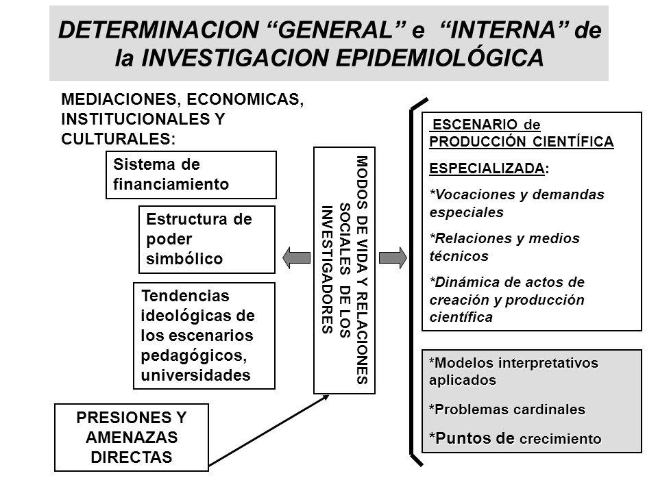 DETERMINACION GENERAL e INTERNA de la INVESTIGACION EPIDEMIOLÓGICA
