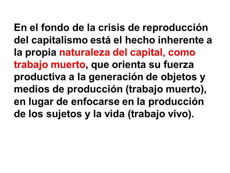 En el fondo de la crisis de reproducción del capitalismo está el hecho inherente a la propia naturaleza del capital, como trabajo muerto, que orienta su fuerza productiva a la generación de objetos y medios de producción (trabajo muerto), en lugar de enfocarse en la producción de los sujetos y la vida (trabajo vivo).
