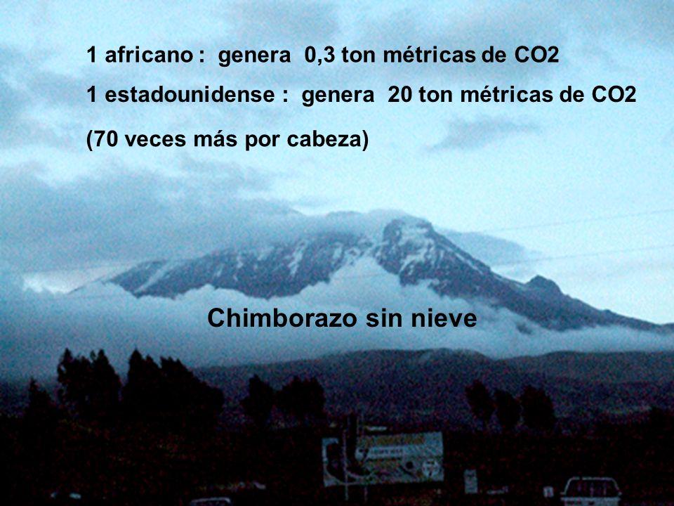 Chimborazo sin nieve 1 africano : genera 0,3 ton métricas de CO2
