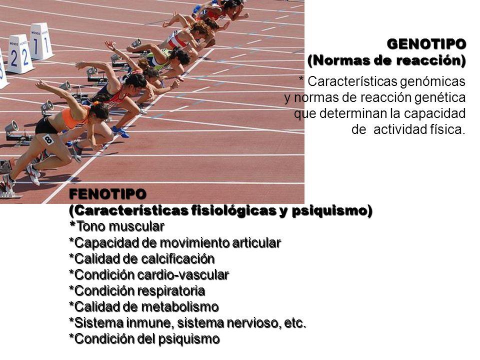 GENOTIPO (Normas de reacción) * Características genómicas. y normas de reacción genética. que determinan la capacidad.