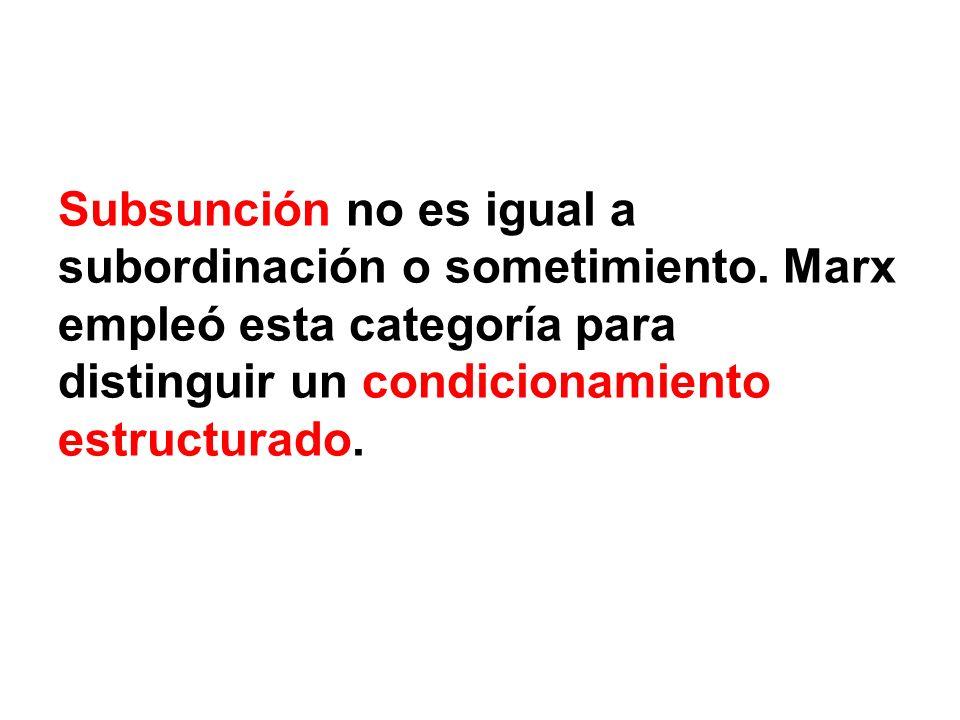 Subsunción no es igual a subordinación o sometimiento