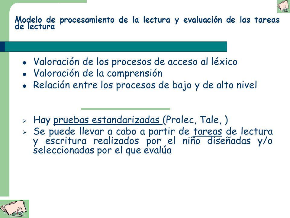Valoración de los procesos de acceso al léxico