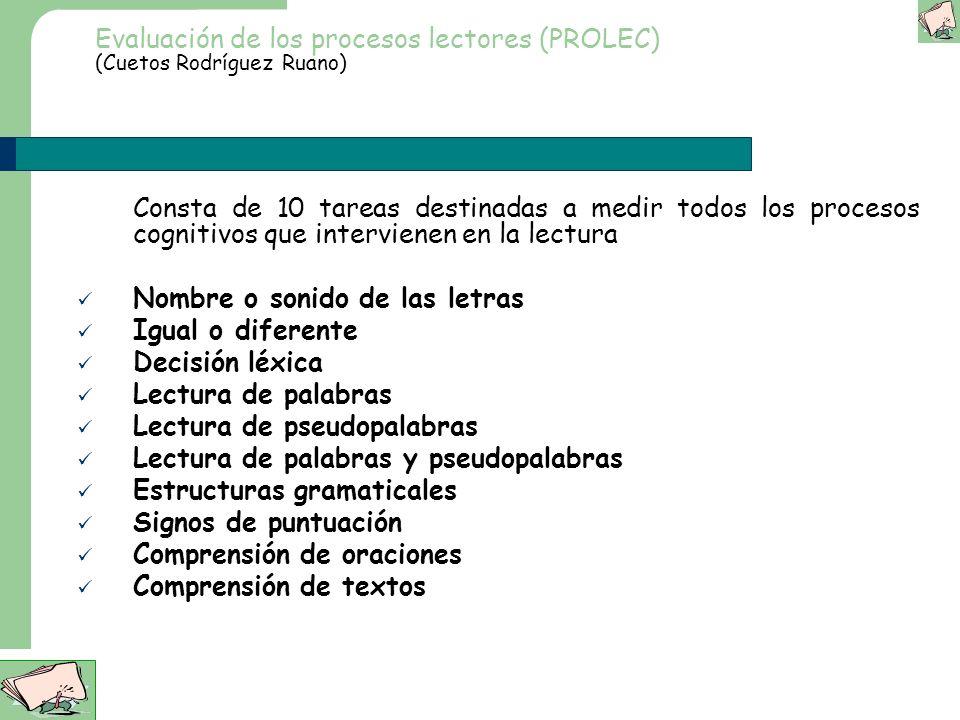 Evaluación de los procesos lectores (PROLEC) (Cuetos Rodríguez Ruano)