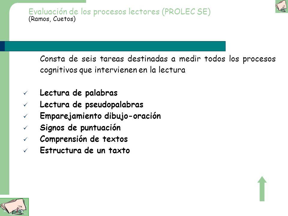Evaluación de los procesos lectores (PROLEC SE) (Ramos, Cuetos)