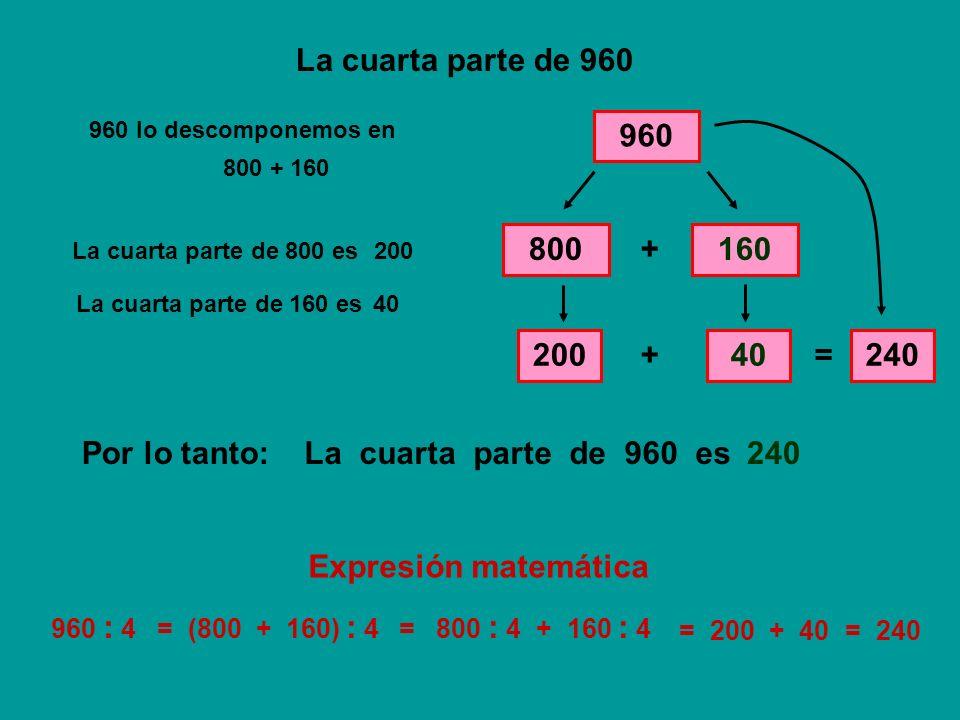 La cuarta parte de 960 960 800 + 160 200 + 40 = 240 Por lo tanto: