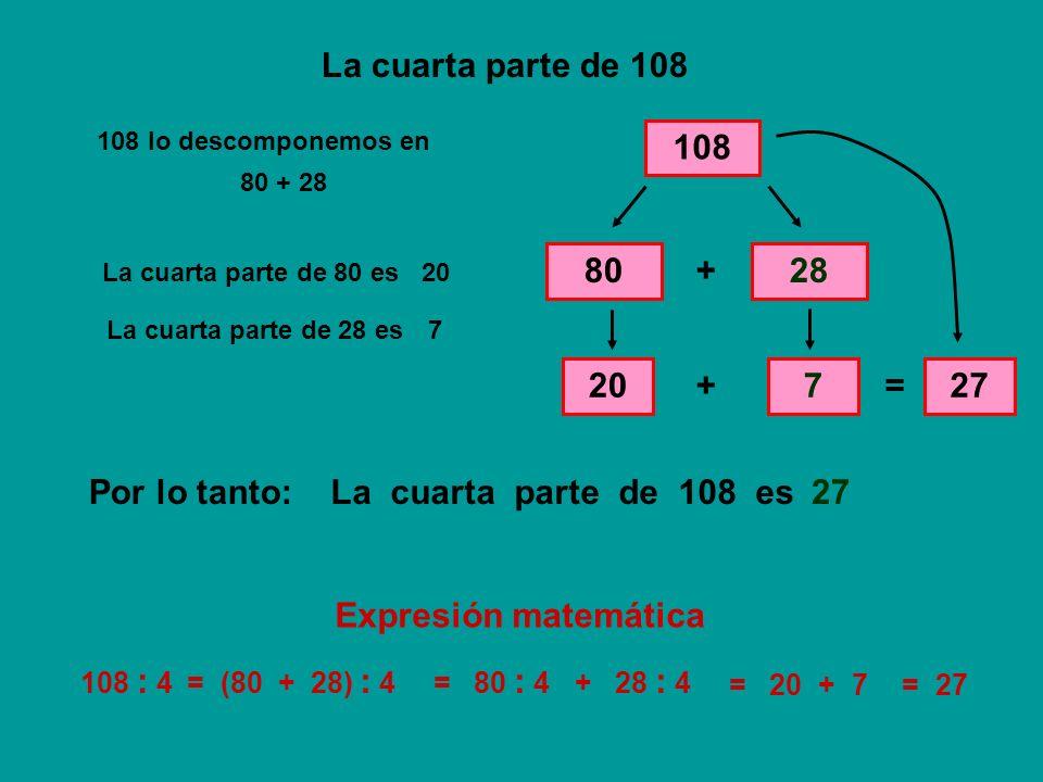 La cuarta parte de 108 108 80 + 28 20 + 7 = 27 Por lo tanto: