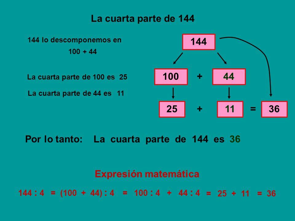 La cuarta parte de 144 144 100 + 44 25 + 11 = 36 Por lo tanto: