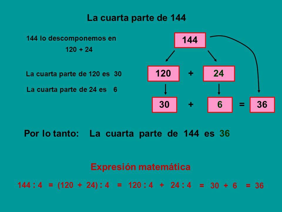 La cuarta parte de 144 144 120 + 24 30 + 6 = 36 Por lo tanto:
