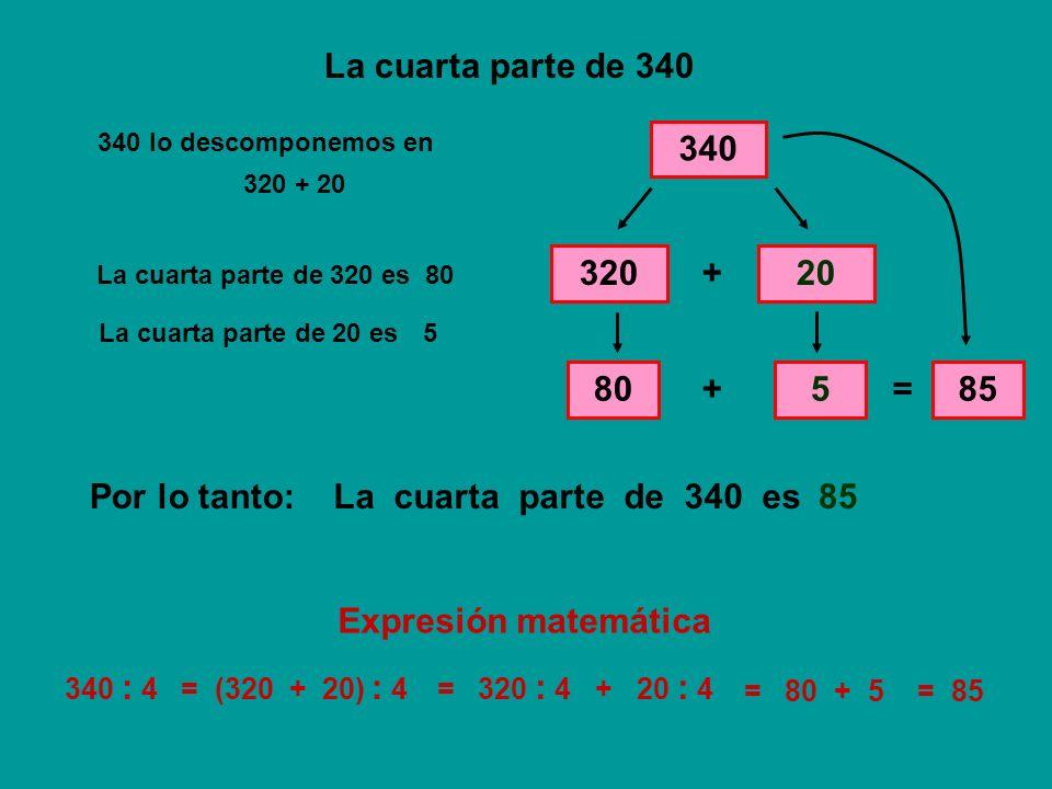 La cuarta parte de 340 340 320 + 20 80 + 5 = 85 Por lo tanto: