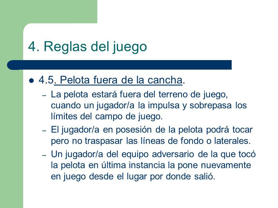 4. Reglas del juego 4.5. Pelota fuera de la cancha.