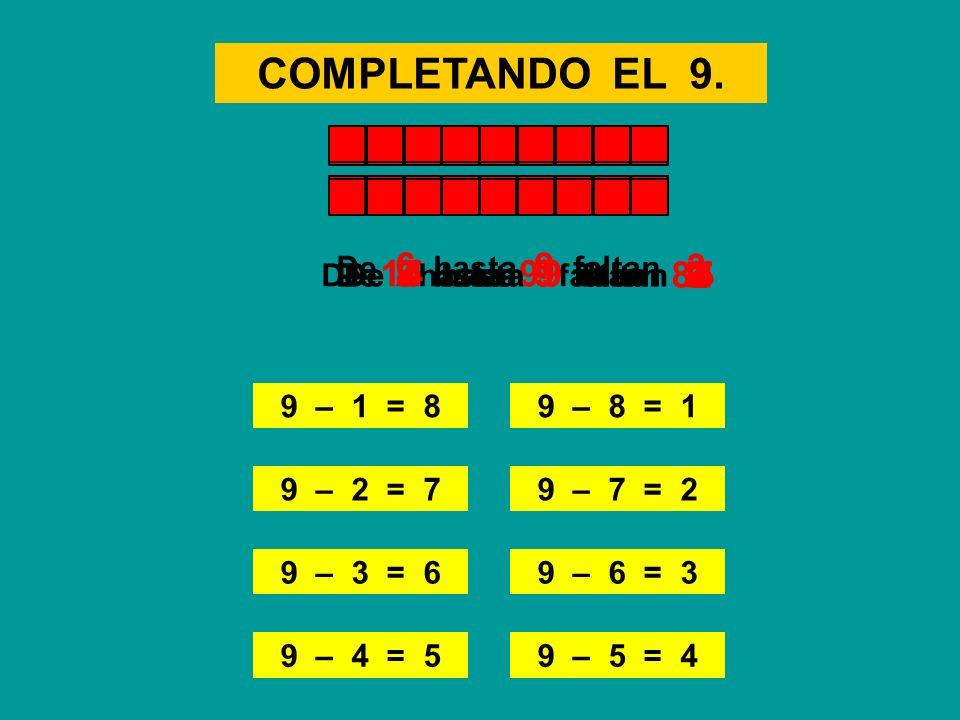COMPLETANDO EL 9. 3 8 6 7 2 1 4 5 De 6 hasta 9 faltan