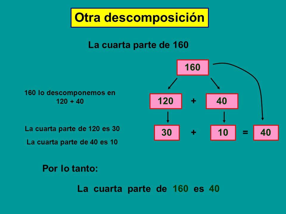 Otra descomposición La cuarta parte de 160 160 120 + 40 30 + 10 = 40
