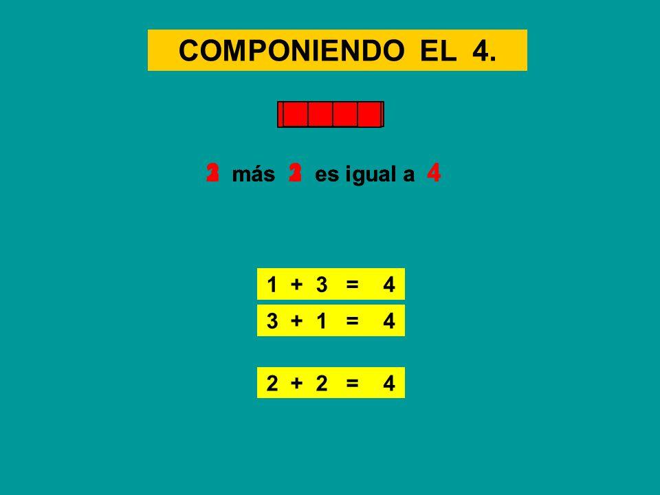 COMPONIENDO EL 4. 2 más 2 es igual a 4 3 más 1 es igual a 4