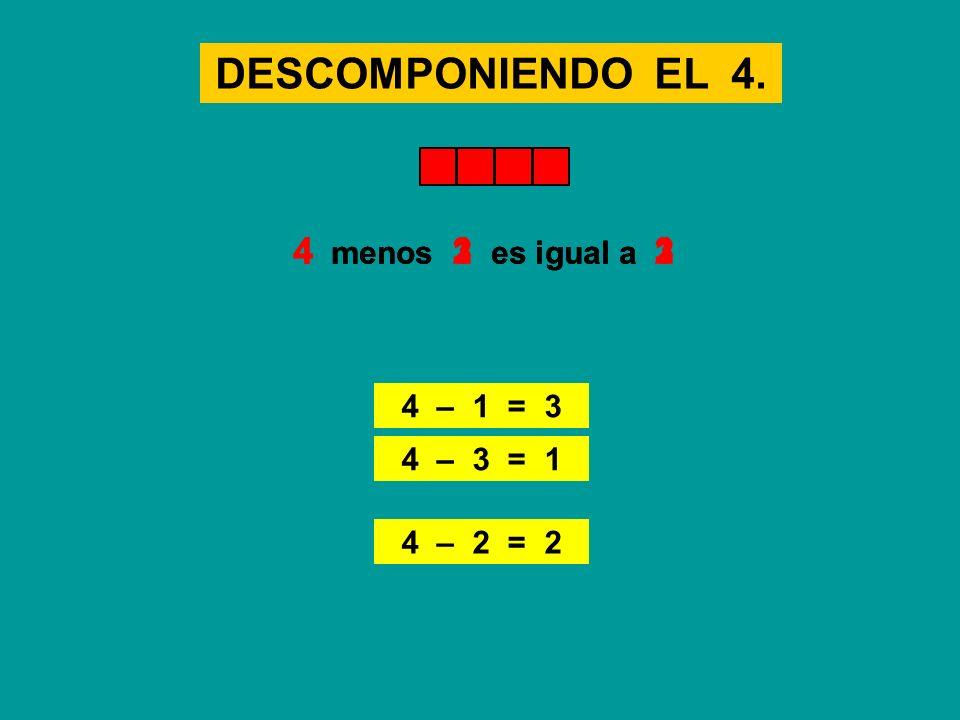 DESCOMPONIENDO EL 4. 4 menos 3 es igual a 1 4 menos 1 es igual a 3