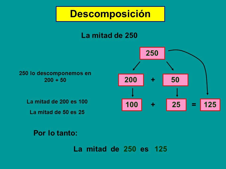 Descomposición La mitad de 250 250 200 + 50 100 + 25 = 125