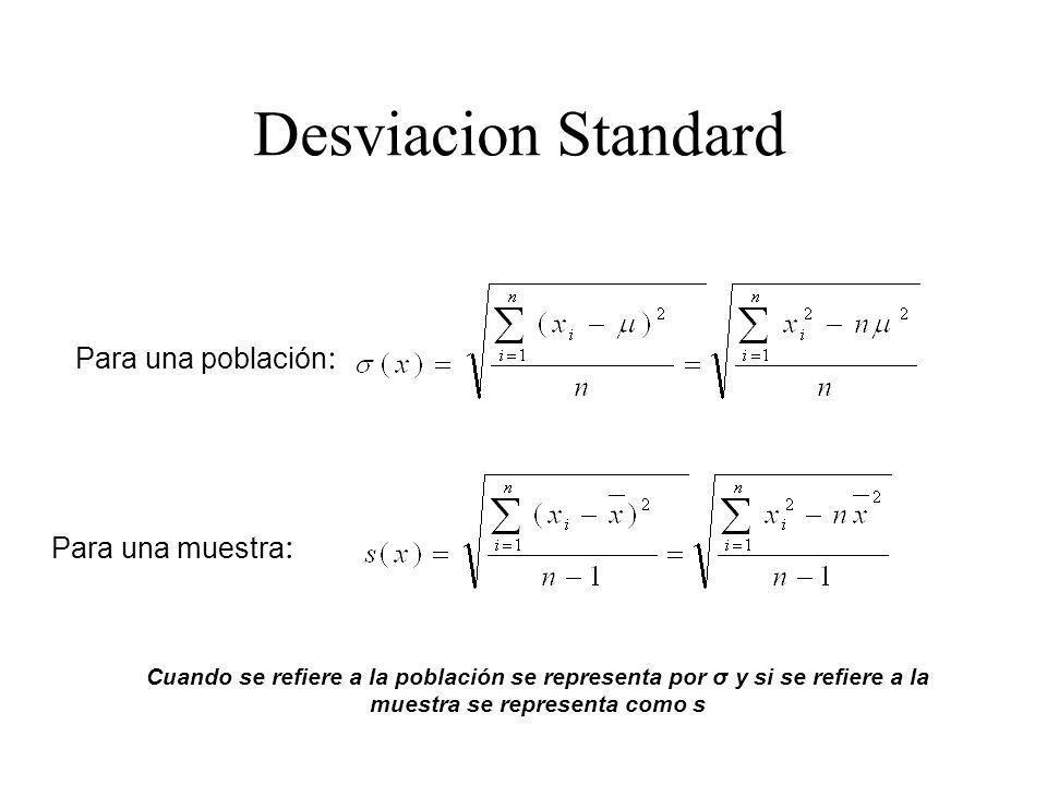 Desviacion Standard Para una población: Para una muestra: