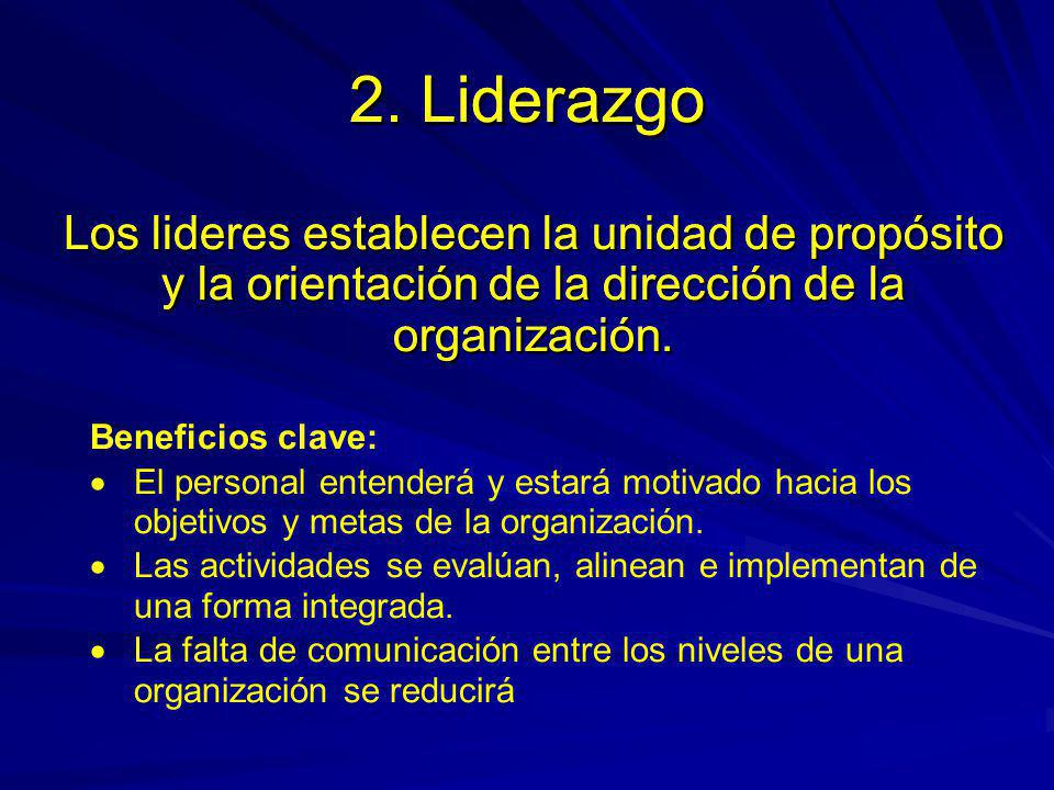 2. Liderazgo 2. Liderazgo. Los lideres establecen la unidad de propósito y la orientación de la dirección de la organización.