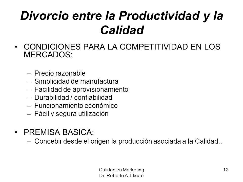 Divorcio entre la Productividad y la Calidad