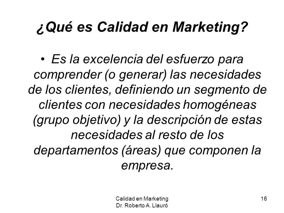¿Qué es Calidad en Marketing