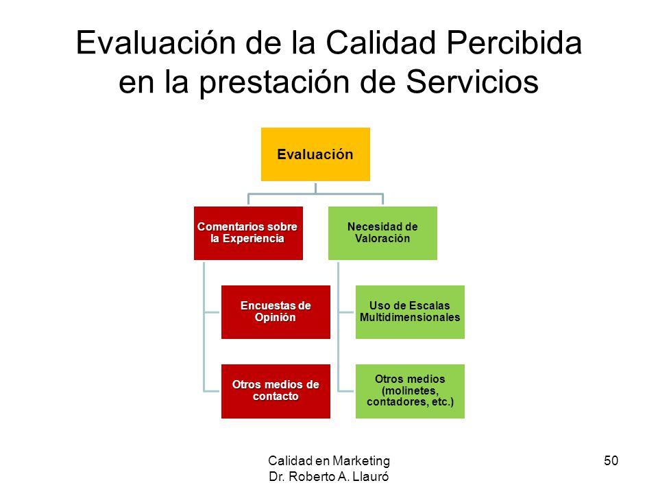Evaluación de la Calidad Percibida en la prestación de Servicios