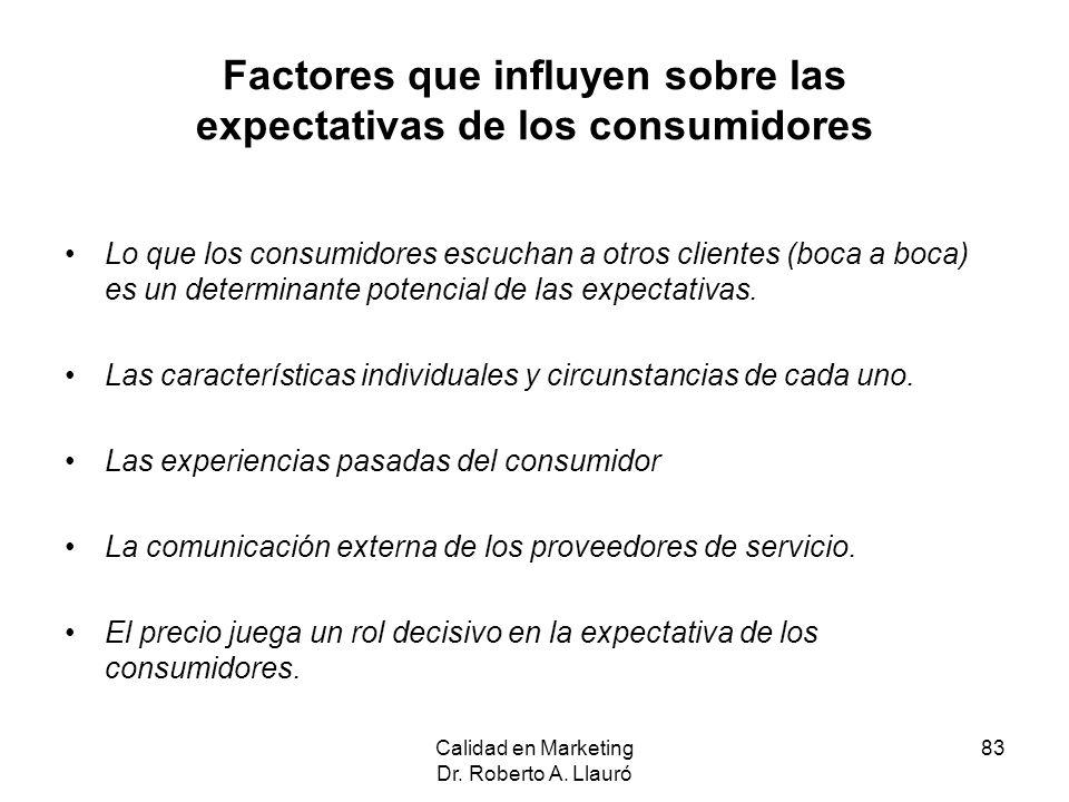Factores que influyen sobre las expectativas de los consumidores
