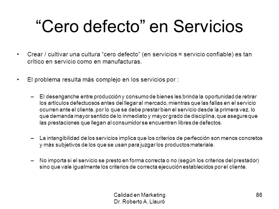 Cero defecto en Servicios