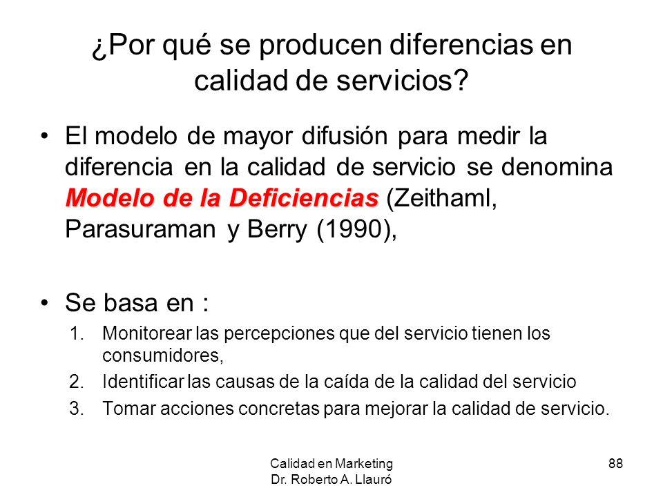¿Por qué se producen diferencias en calidad de servicios