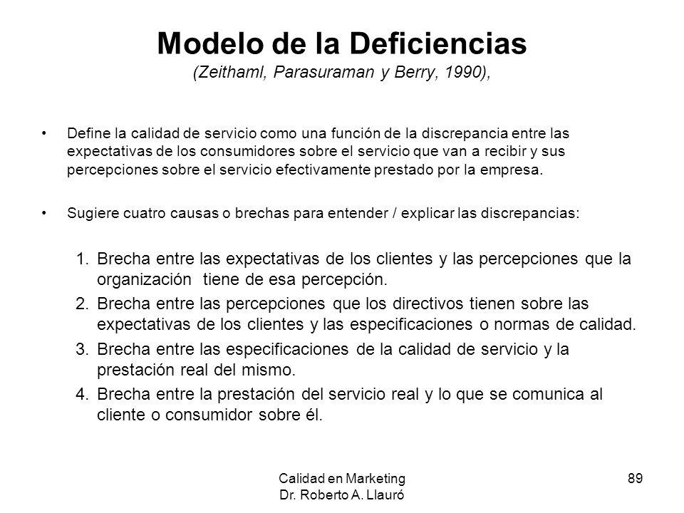 Modelo de la Deficiencias (Zeithaml, Parasuraman y Berry, 1990),