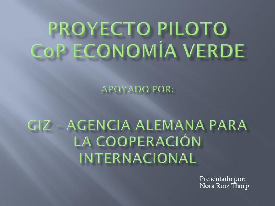 Proyecto Piloto CoP Economía Verde Presentado por: Nora Ruiz Thorp
