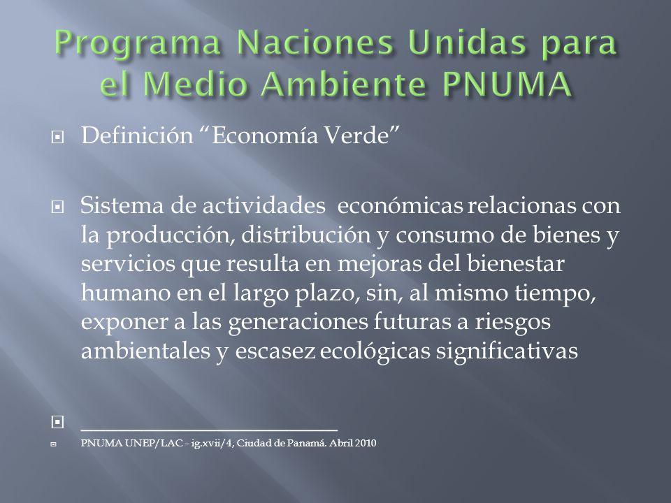 Programa Naciones Unidas para el Medio Ambiente PNUMA