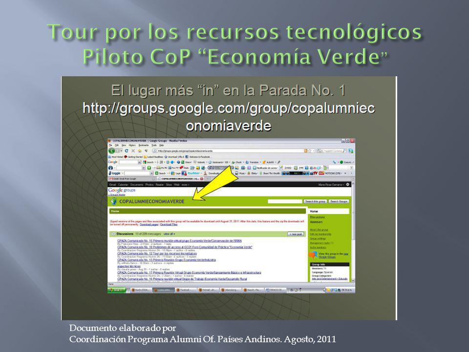 Tour por los recursos tecnológicos Piloto CoP Economía Verde
