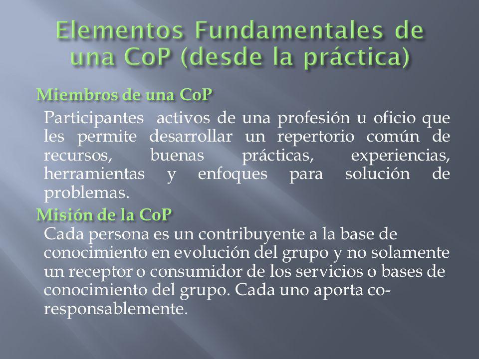 Elementos Fundamentales de una CoP (desde la práctica)